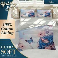 Butterfly Violet Floral Flowers Blue Quilt Cover Queen Size Single Double King