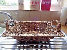 """Woven Sea Grass Rigid with handles Basket Storage Bedroom Bathroom 16"""" 11"""" 4"""""""