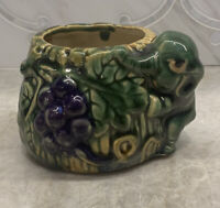 Vtg majolica green and brown Planter Elephant figure Purple Grapes Marked