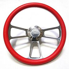 "1969-1994 Impala, Bel Air, Caprice 14"" Billet and Red Steering Wheel Kit"