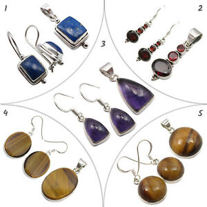 Real AMETHYST 925 Silver Handmade Set Earrings Pendants JEWELRY 10 items Job Lot