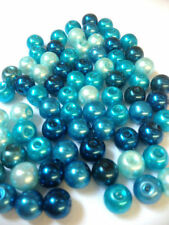 Perline sfuse di perla blu rotondi