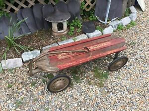 Antique Deco Streamliner Large Pull Wagon Kids Wood Metal