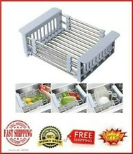 Over the Sink Dish Drying Rack Adjustable Stainless Steel Sink Organizer Basket