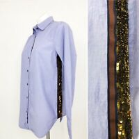 J.Crew B5034 Button Down Long Sleeve Sequin Side Shirt Blue Size 8
