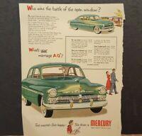 Vintage Mercury Car 1950 Print Advertising Page Collectible