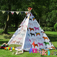 Large Cotton Canvas Kids Boys Girls Horse Pentagon Teepee Outdoor Tent