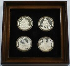 """""""The Four Seasons by Norman Rockwell"""" Sterling Silver Medal Set in Wooden Frame"""