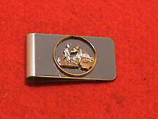 Hand cut California quarter 24 kt gold plated and mounted for a money clip