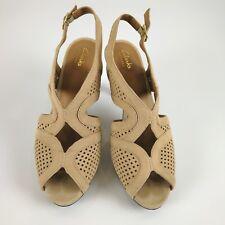 Clarks Slingback Brown Tan Open Toe Suede Nubuck Size 8 Heels