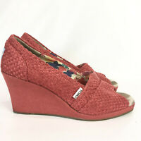 Toms Womens 9.5 Wedge Heels Red Woven Open Toe Espadrilles Shoes