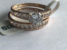 9ct Rose Gold Bridal Set Cz Size P