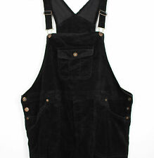 VTG LADIES BLACK  VELOUR/VELVETY DUNGAREES FESTIVAL 90s GRUNGE WOMENS  XL