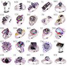 Unisex Jewelry Rainbow White Topaz AAA Gems Silver Ring Size 6 7 8 9 10 11 12 13