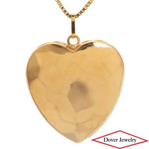 Estate 14K Gold Fancy Heart Shape Hammered Accents Pendant NR
