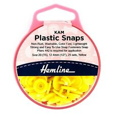 Yellow - Hemline KAM Snaps 25 x 12.4mm Plastic Poppers Fasteners Buttons