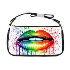 Punk Rock Alternative Horror Lips Rainbow Shoulder Clutch Purse Small Bag PopArt