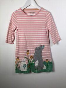 Mini Boden Kids Girls Pink Striped Rabbit Graphic Dress size 5-6 Years Cotton