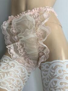 Vtg Semi Sheer 20 Denier Stabilised Nylon Mesh ~ Discreet Tanga Panties Cream