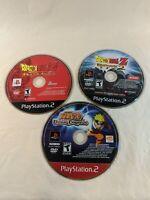Lot Of 3 Ps2 Disc Only Games Dragonball Z Budokai 1 & 2 Naruto Uzumaki Tested