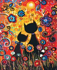 diy paint by number kit oil painting on canvas 12x16'' Cats Family in Shine Day