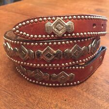 Vtg Billy Belts California Belt Brown Leather Western Silver tone Conchos 34
