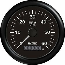 BLACK OUTBOARD TACHOMETER 6000 RPM & DIGITAL HOUR METER UNIVERSAL  GAUGE
