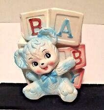 Vintage Lg Ceramic Planter Spells 'Baby' in Alpha Blocks Blue Teddy Bear Japan