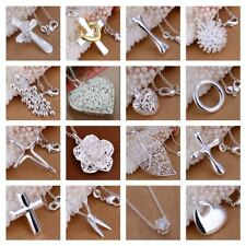 *UK Shop* 925 SILVER PLT LADIES PENDANT NECKLACE 18 CHAIN LONG DROP CRYSTAL GIFT