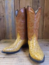 vtg MEXICAN ostrich skin LEATHER western BOOTS size 7 flashy BIKER rockstar