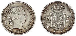 20 CENTS / 20 CENTAVOS PESO. Ag. ISABELLA II-ISABEL II. FILIPINAS 1868. VF+/MBC+