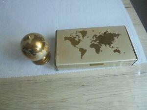 Tischfeuerzeug Benzinfeuerzeug Globus Weltkugel und Zigarettendose gold