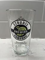STOUDTS Brewing Company Pint Beer Glass Adamstown, Pennsylvania Brewery Menu