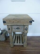 Farmhouse Butchers Block Bench In A Weathered Oak Finish