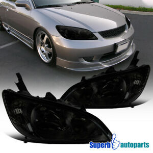For 2004-2005 Honda 04-05 Civic Smoke Tinted Left+Right Side Headlights Lamps