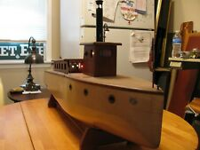 ANTIQUE BEAUTIFUL,1930'S, 40'S WOODEN DISPLAY YACHT STEAM ENGINE BOAT, LIGHTS