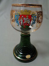 W Germany Rudesheim, Crystal Goblet Highly Gold Decorated Ribbed Stem & Base