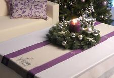 Jacquard Tischläufer Weihnachten ca. 34x140 cm mit Rentier bestickt lila silber