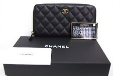 CHANEL LAMBSKIN ZIP AROUND ORGANIZER BLACK WALLET 100% AUTHENTIC NEW WITH TAGS