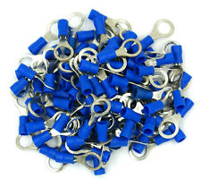 100 Pack 16-14 Gauge Blue Ring Tongue Terminals Electrical Wire Connectors 5/16""