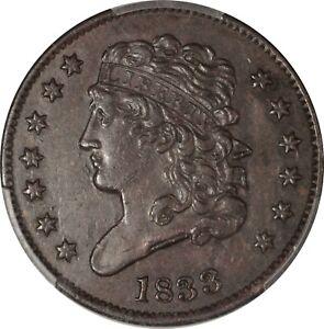 1833 1/2 Cent  Half cent PCGS AU 50