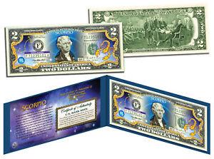 SCORPIO * Horoscope Zodiac * Genuine Legal Tender Colorized U.S. $2 Bill