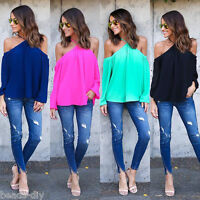 Summer Womens Fashion Off Shoulder Loose T-Shirt Casual Blouse Chiffon Tops Tee