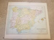 Late 19th Century Map Of Spain And Portugal, J Bartholomew