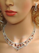 Elegant Bridal Crystal Necklace Earrings Set Prom Wedding Pageant Jewelry N1Z2