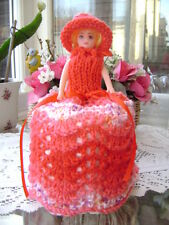 Hand Knitted Cherry Blossom Doll Toilet Roll Cover