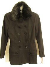 Espirit Wool Blend Faux Fur Collar Double Breasted Coat S Black NWT $275