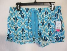 Tinseltown Womens Juniors Size M Teal Geometric Linen Flat Shorts SR $36 NEW