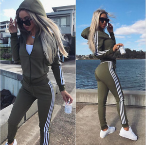 Women's Hooded Tracksuit Long Sleeve 2 Pieces Zip up Hooded Jacket and Sweatpant