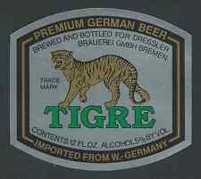 Tigre premium Beer, Dressler cervecería, bremen cerveza etiqueta del frasco (hb-076)